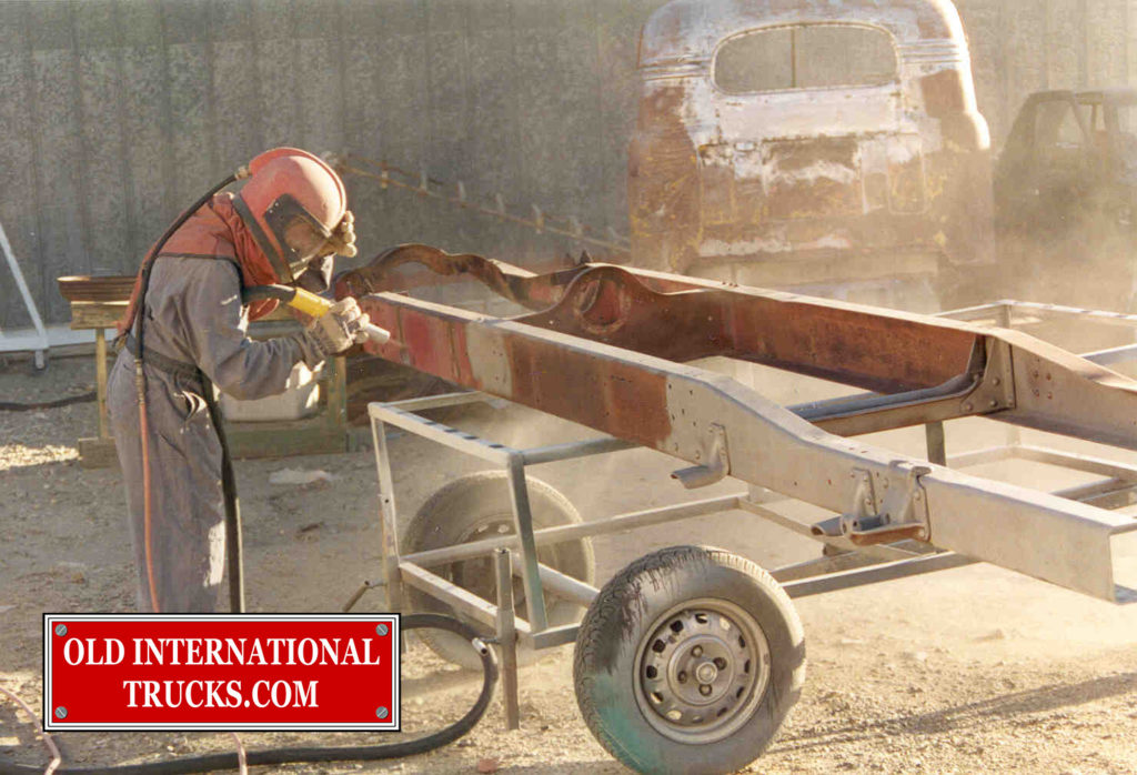 "D-30 Frame being sand blasted <div class=""download-image""><a href=""https://oldinternationaltrucks.com/wp-content/uploads/2017/09/12-1.jpg"" download><i class=""fa fa-download""></i> <span class=""full-size""></span></a></div>"