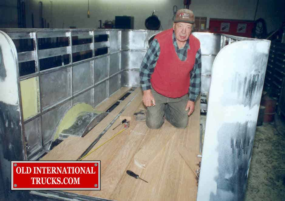 "Byron Rutt helping out with the 2 inch oak floor <div class=""download-image""><a href=""https://oldinternationaltrucks.com/wp-content/uploads/2017/09/141.jpg"" download><i class=""fa fa-download""></i> <span class=""full-size""></span></a></div>"