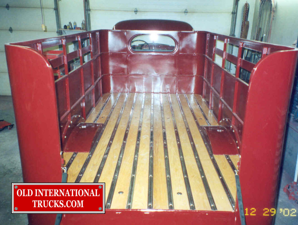"the finished body with stainless steel stripes and oak flooring. <div class=""download-image""><a href=""https://oldinternationaltrucks.com/wp-content/uploads/2017/09/162.jpg"" download><i class=""fa fa-download""></i> <span class=""full-size""></span></a></div>"