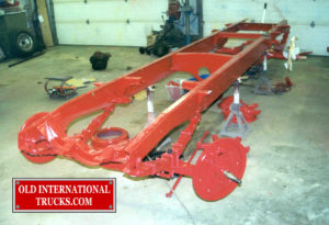 "Frame painted International red, axles installed. <div class=""download-image""><a href=""https://oldinternationaltrucks.com/wp-content/uploads/2017/09/17-2.jpg"" download><i class=""fa fa-download""></i> <span class=""full-size""></span></a></div>"