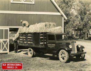 "1935 International Truck Model C-35 hauling hay. <div class=""download-image""><a href=""https://oldinternationaltrucks.com/wp-content/uploads/2017/09/1935-International-Truck-Model-C-35-hauling-hay..jpeg"" download><i class=""fa fa-download""></i> <span class=""full-size""></span></a></div>"
