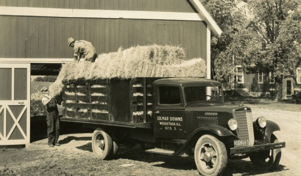 1935 International Truck Model C-35 hauling hay.