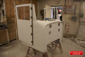 "Front of cab and doors being test fitted <div class=""download-image""><a href=""https://oldinternationaltrucks.com/wp-content/uploads/2017/09/DSC04767.jpg"" download><i class=""fa fa-download""></i> <span class=""full-size""></span></a></div>"