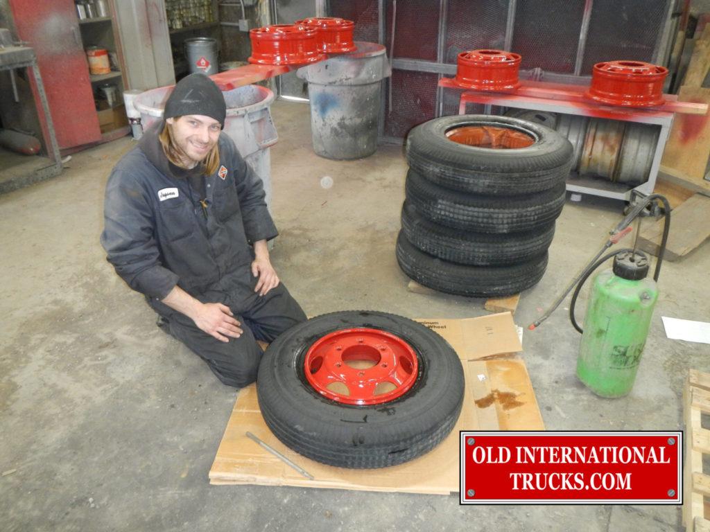 """Putting tires and wheels back together <div class=""""download-image""""><a href=""""https://oldinternationaltrucks.com/wp-content/uploads/2017/09/DSCN0118.jpg"""" download><i class=""""fa fa-download""""></i> <span class=""""full-size""""></span></a></div>"""