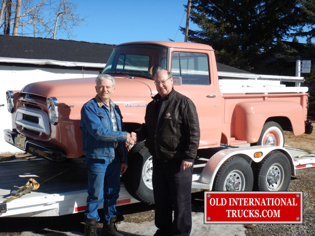 "GEORGE KIRKHAM BUYING THE 1958 A100 FROM THE SON OF THE ORIGINAL OWNER <div class=""download-image""><a href=""https://oldinternationaltrucks.com/wp-content/uploads/2017/09/DSCN2821.jpg"" download><i class=""fa fa-download""></i> <span class=""full-size""></span></a></div>"