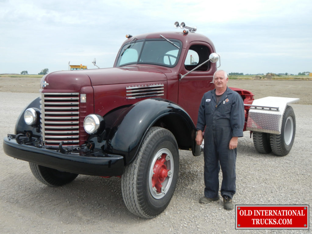"""Bobby with the finished truck <div class=""""download-image""""><a href=""""https://oldinternationaltrucks.com/wp-content/uploads/2017/09/DSCN5727.jpg"""" download><i class=""""fa fa-download""""></i> <span class=""""full-size""""></span></a></div>"""