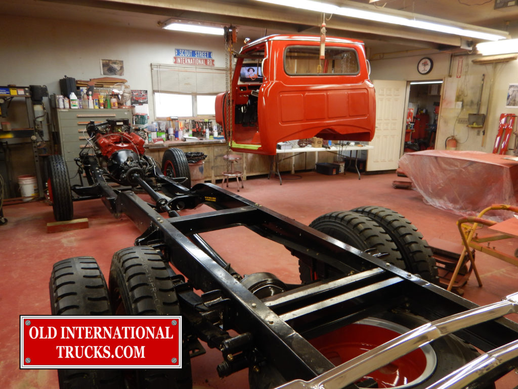 "1500D cab on two chain hoist ready to mate up with chassis. <div class=""download-image""><a href=""https://oldinternationaltrucks.com/wp-content/uploads/2017/09/DSCN7993_1.jpg"" download><i class=""fa fa-download""></i> <span class=""full-size""></span></a></div>"