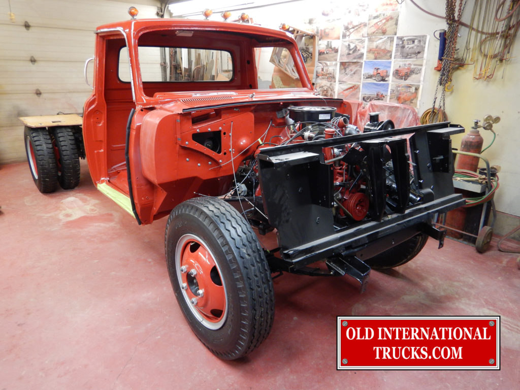 "Cab bolted to chassis and rad support installed. <div class=""download-image""><a href=""https://oldinternationaltrucks.com/wp-content/uploads/2017/09/DSCN8052.jpg"" download><i class=""fa fa-download""></i> <span class=""full-size""></span></a></div>"