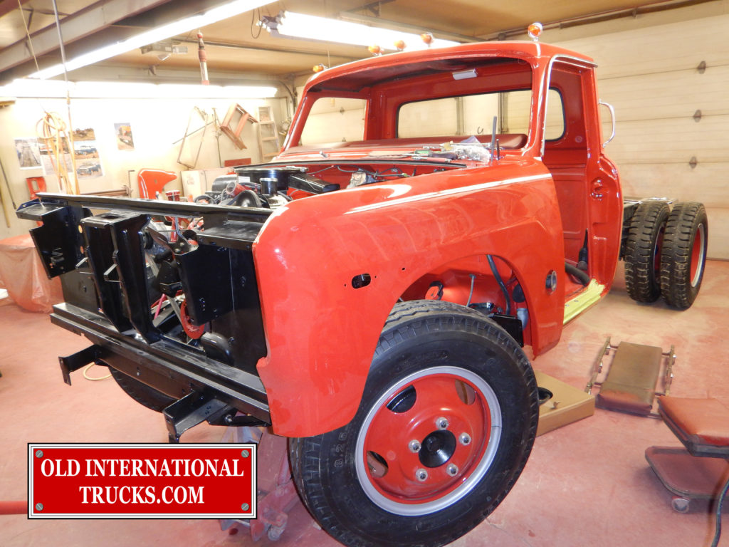 "Test fitting left fender to line up fuel tank hoses. <div class=""download-image""><a href=""https://oldinternationaltrucks.com/wp-content/uploads/2017/09/DSCN8365_1.jpg"" download><i class=""fa fa-download""></i> <span class=""full-size""></span></a></div>"