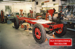 """A restored rolling chassis  <div class=""""download-image""""><a href=""""https://oldinternationaltrucks.com/wp-content/uploads/2017/09/img106-1.jpg"""" download><i class=""""fa fa-download""""></i> <span class=""""full-size""""></span></a></div>"""