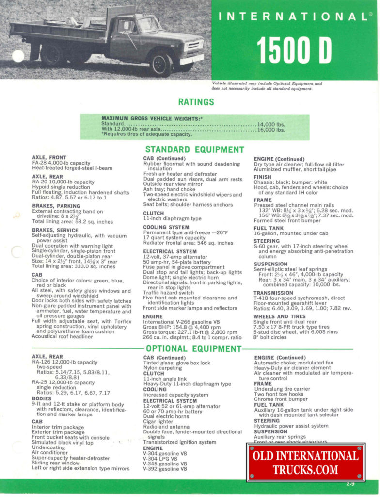 1969 1500D SPEC SHEET COVER PAGE