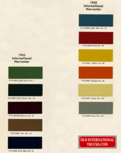 "1942 color chart <div class=""download-image""><a href=""https://oldinternationaltrucks.com/wp-content/uploads/2017/11/1942-color-chart-787.jpg"" download><i class=""fa fa-download""></i> <span class=""full-size""></span></a></div>"