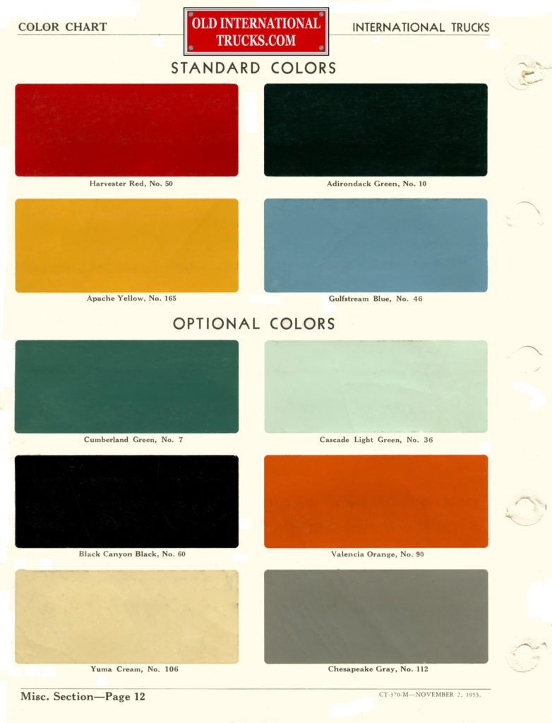 1953 Color Chart
