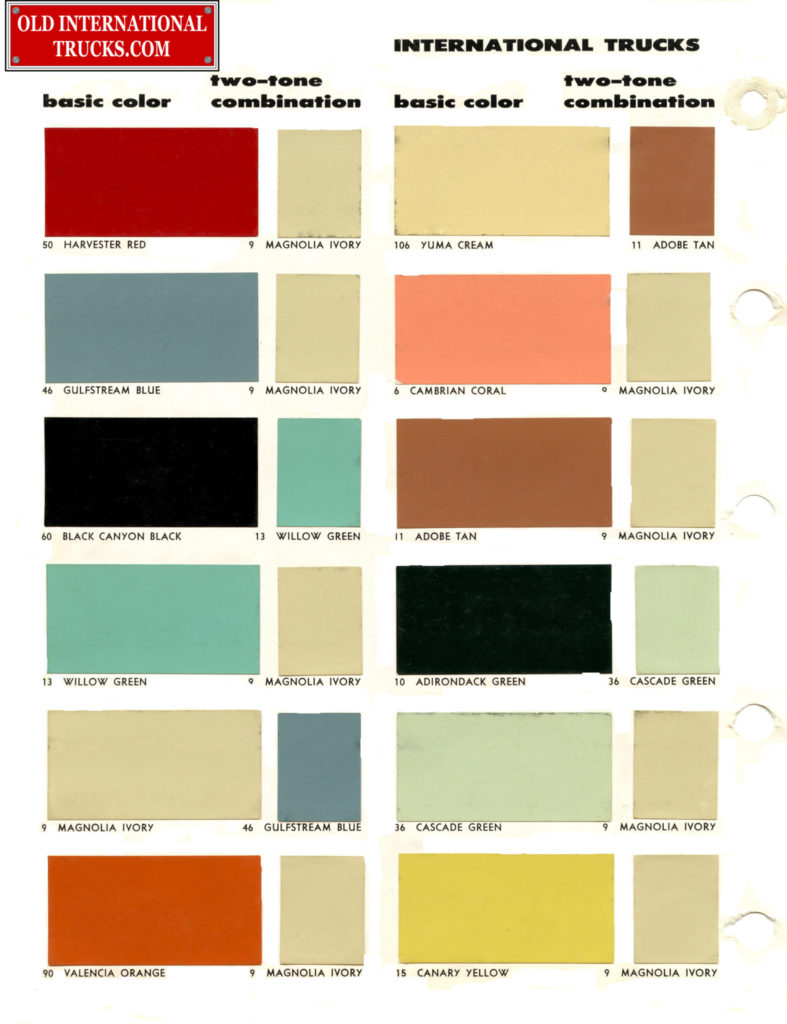 Colour charts old international truck parts 1956 color chart two tone combination nvjuhfo Images