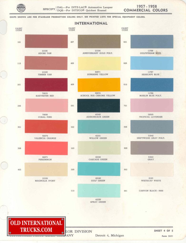 1957-1958 Colors