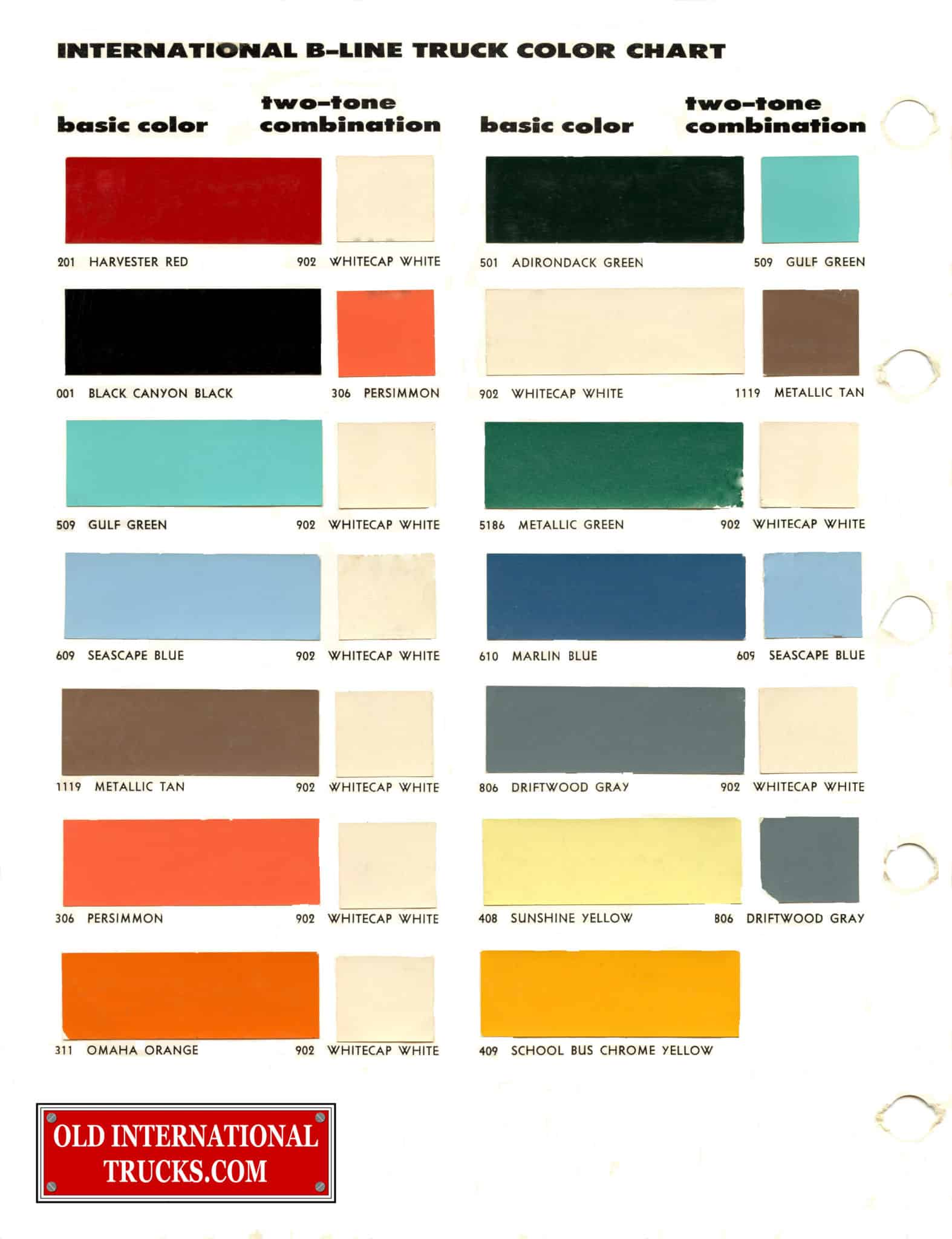 Colour charts old international truck parts 1957 1958 two tone combination nvjuhfo Image collections