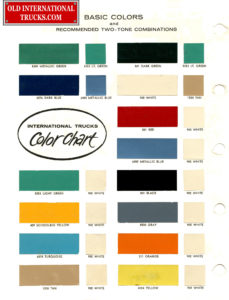 "1961 basic colors and recommended two tone combinations <div class=""download-image""><a href=""https://oldinternationaltrucks.com/wp-content/uploads/2017/11/1961-Basic-Colors-B.jpg"" download><i class=""fa fa-download""></i> <span class=""full-size""></span></a></div>"