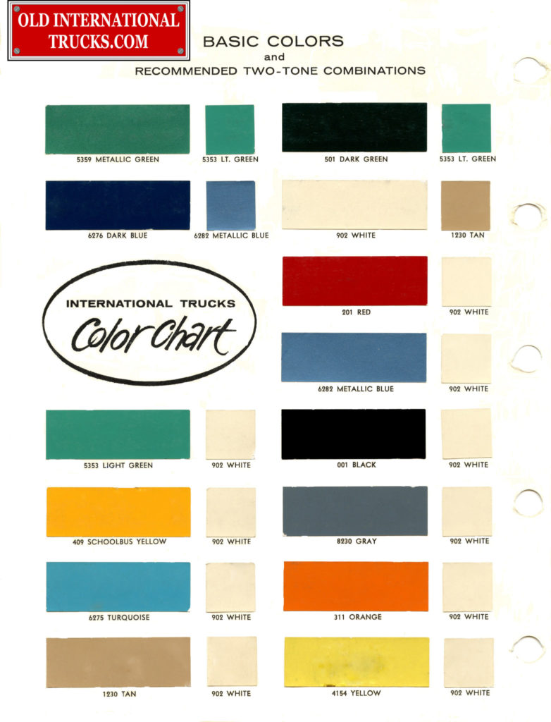 1961 basic colors and recommended two tone combinations