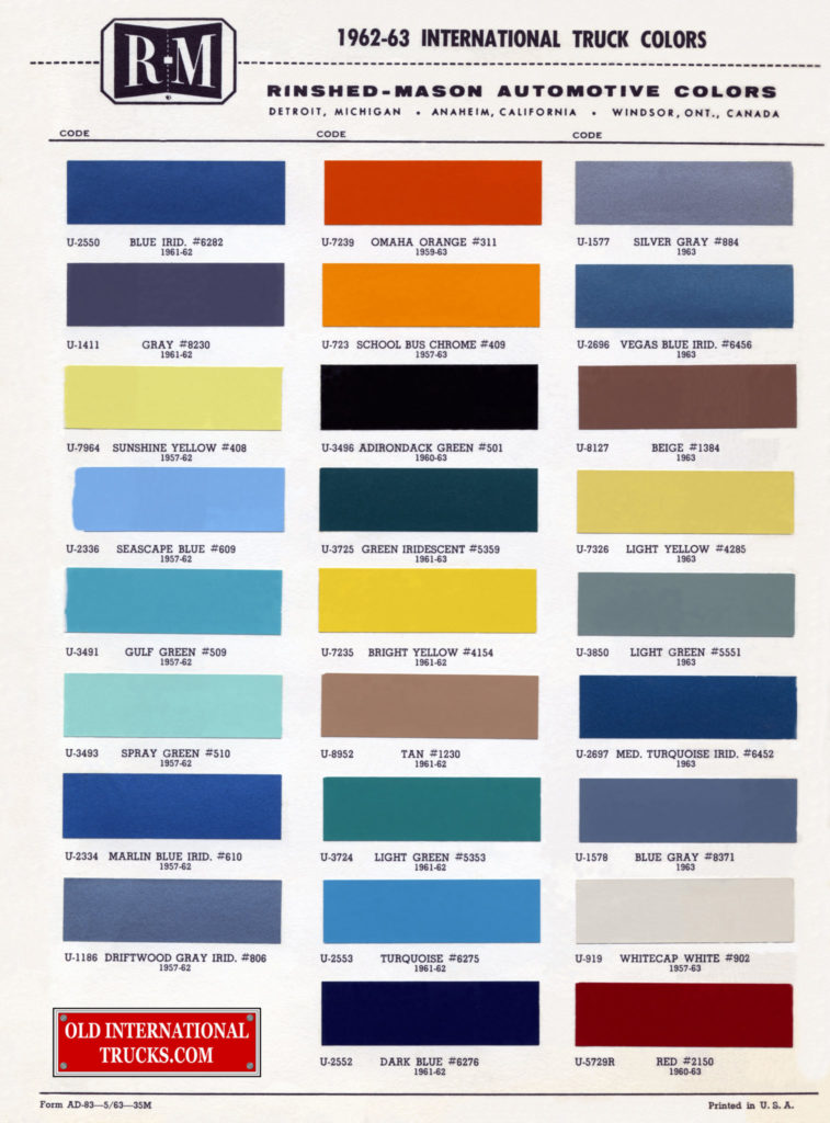 1962 1963 color chart