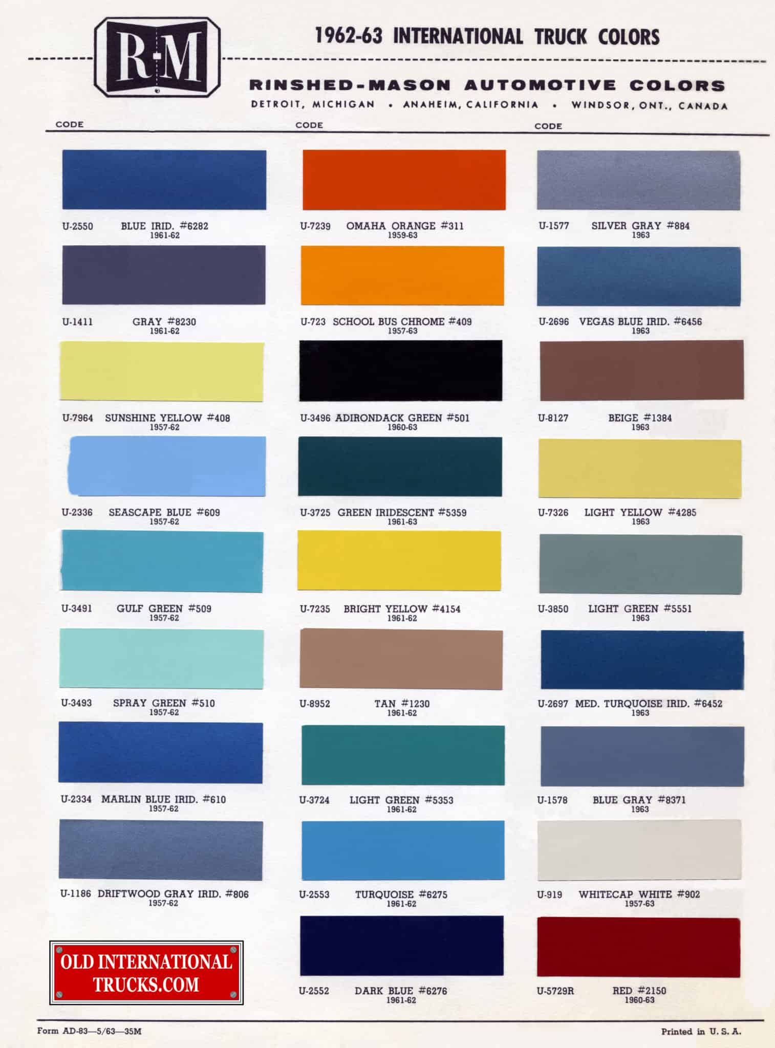 Colour Charts • Old International Truck Parts