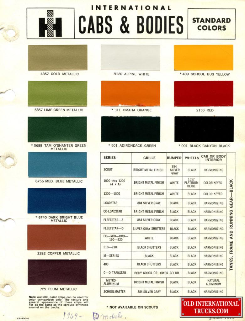 1969 Standard Colors