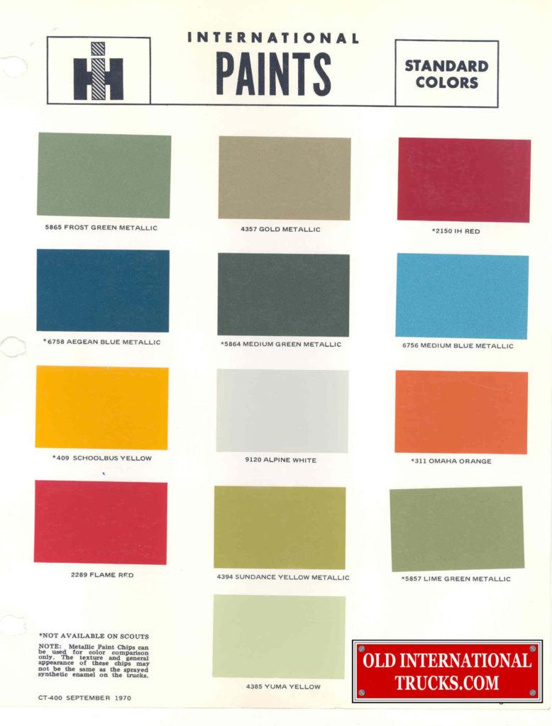 1970 Standard colors