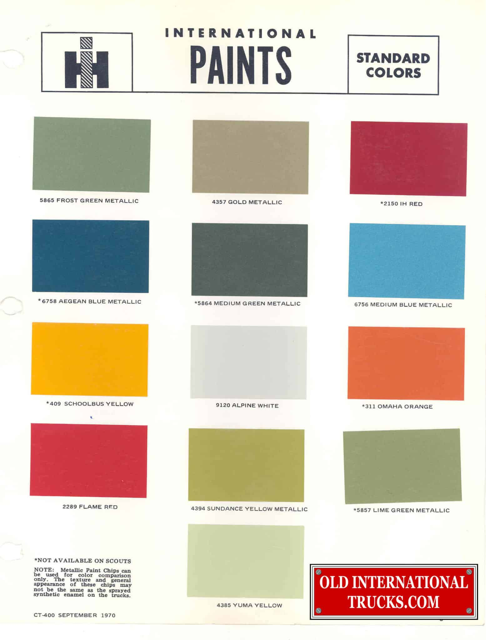 Colour charts old international truck parts for Road case paint