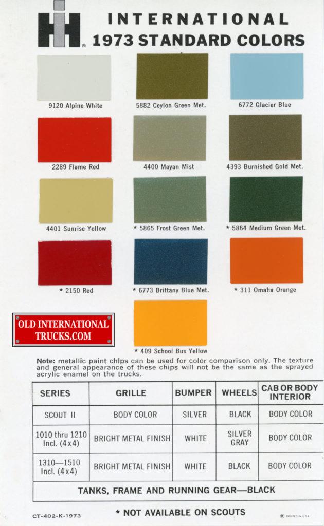 1973 standard colors