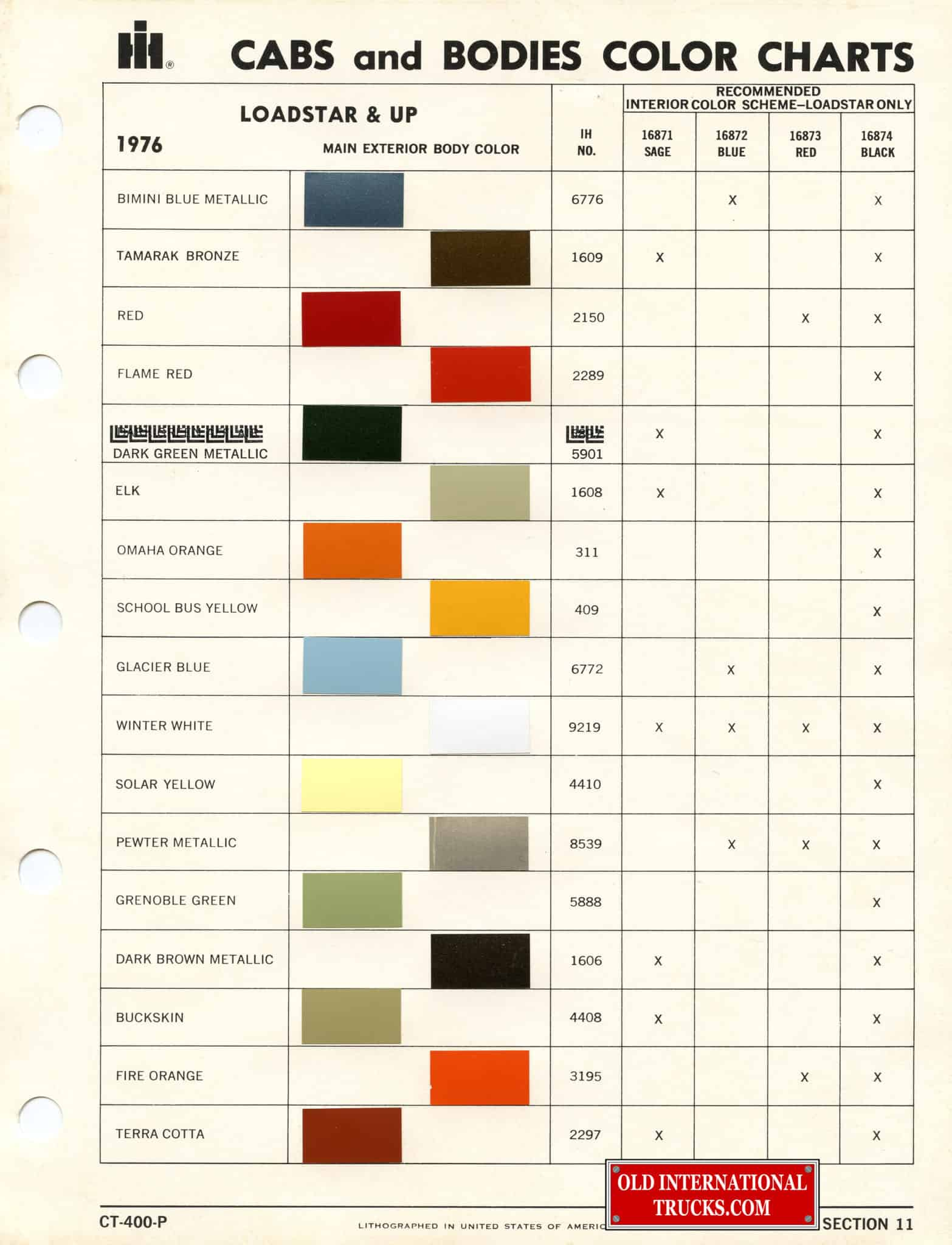 Colour charts old international truck parts 1976 cab body color chart a geenschuldenfo Image collections