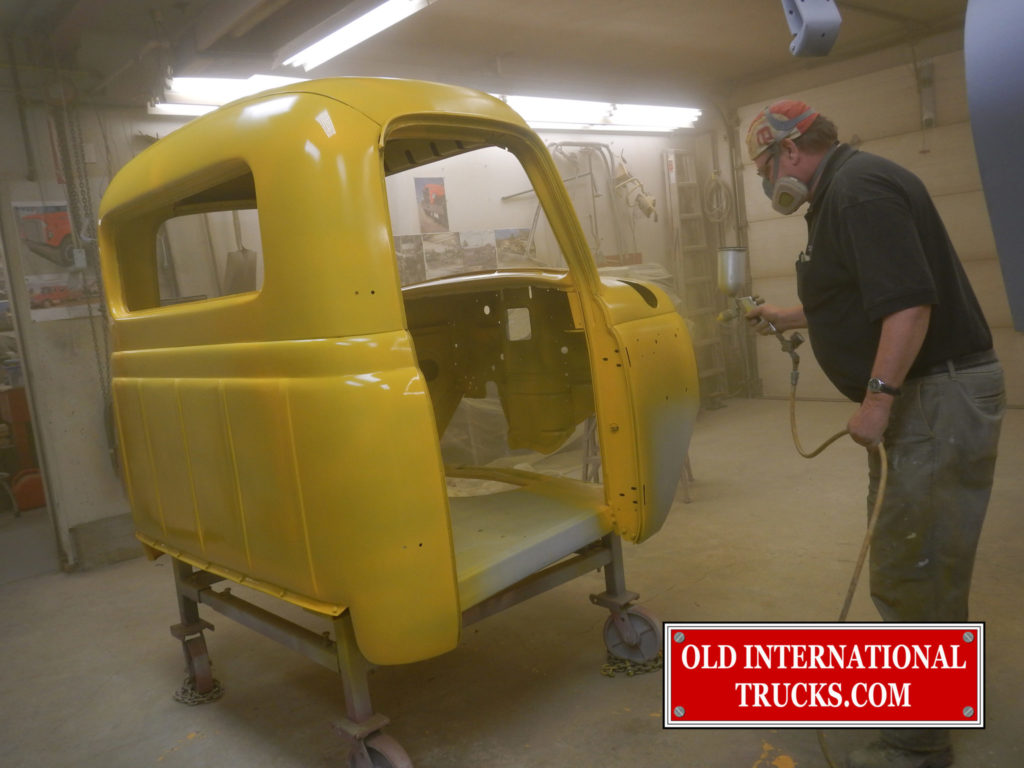 """INTERNATIONAL COSTRUCTION YELLOW BEING SPRAIED BY GEORGE KIRKHAM <div class=""""download-image""""><a href=""""https://oldinternationaltrucks.com/wp-content/uploads/2017/11/DSCN0978.jpg"""" download><i class=""""fa fa-download""""></i> <span class=""""full-size""""></span></a></div>"""