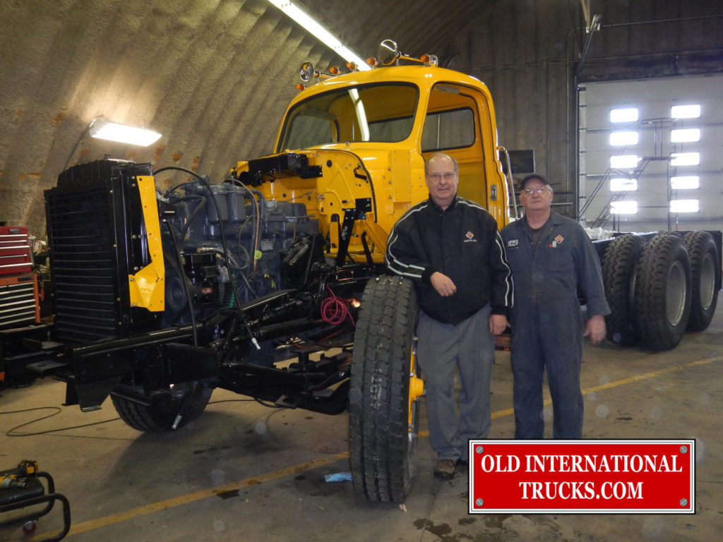 """GEORGE AND BOB ENJOYING TO MOMENT OF THE CAB INSTAL <div class=""""download-image""""><a href=""""https://oldinternationaltrucks.com/wp-content/uploads/2017/11/DSCN7978.jpg"""" download><i class=""""fa fa-download""""></i> <span class=""""full-size""""></span></a></div>"""
