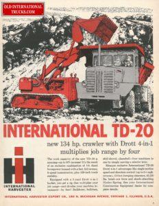 """1957 TD-20 CRAWLER LOADER AND PAYHAULER MODEL 65 <div class=""""download-image""""><a href=""""https://oldinternationaltrucks.com/wp-content/uploads/2017/12/1957-international-td-20.jpg"""" download><i class=""""fa fa-download""""></i> <span class=""""full-size""""></span></a></div>"""