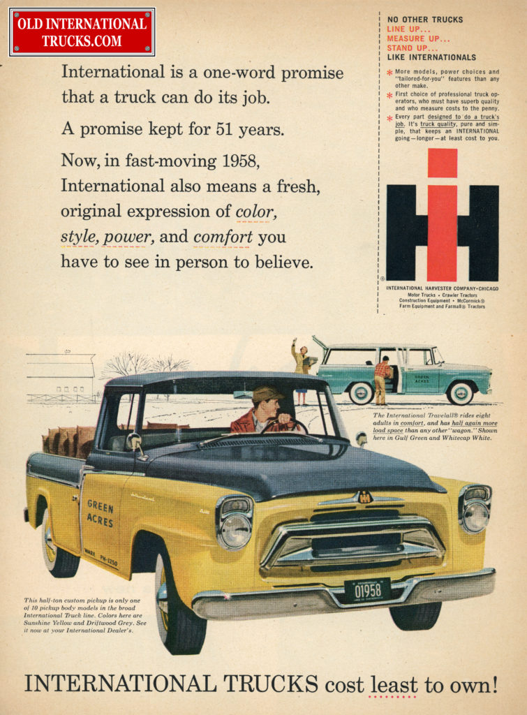 Old International Ads From The A-Line Models 1957-1958 • Old ...