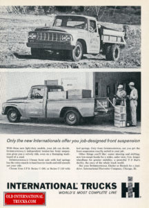 "1962 C130 ONE TON AND C100 PICK UP <div class=""download-image""><a href=""https://oldinternationaltrucks.com/wp-content/uploads/2017/12/1961only-the-new-internationals-offer-you-job-designed-front-suspention-1.jpg"" download><i class=""fa fa-download""></i> <span class=""full-size""></span></a></div>"