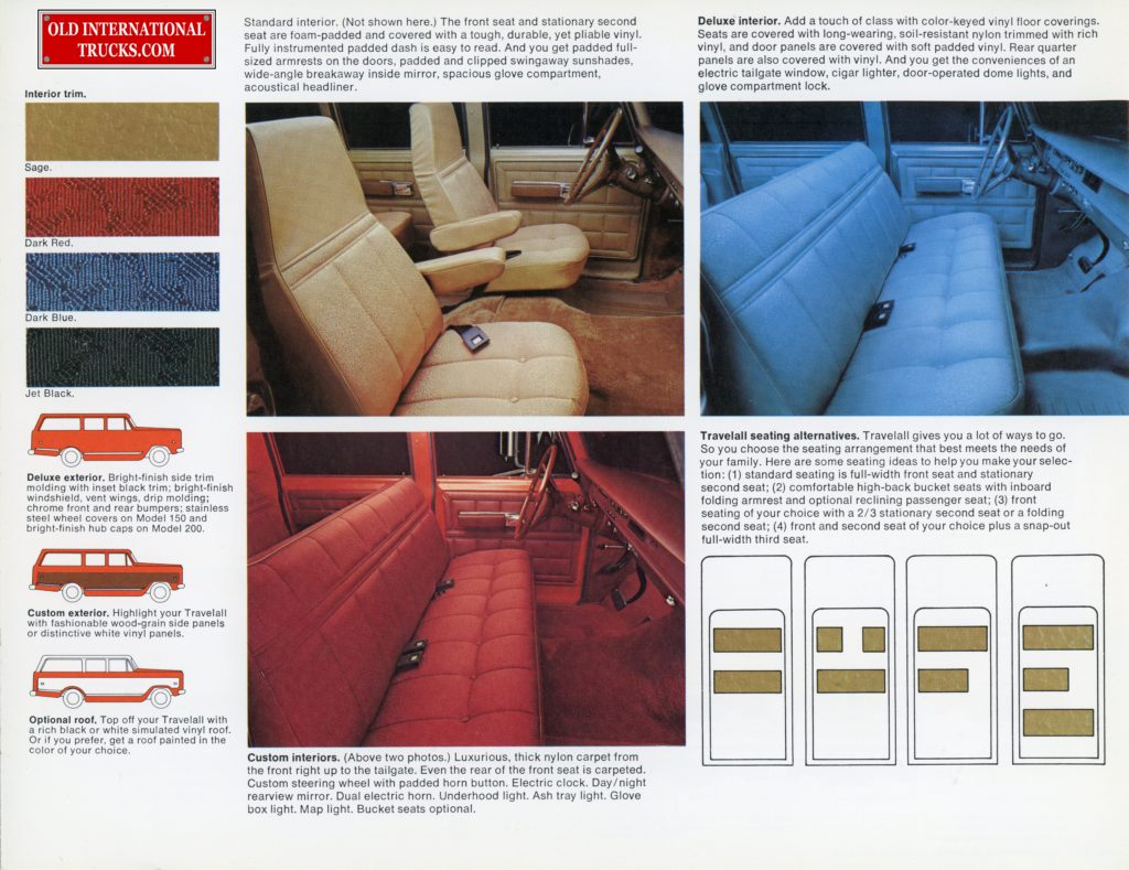 "1975 International color chart and seats chart <div class=""download-image""><a href=""https://oldinternationaltrucks.com/wp-content/uploads/2017/12/75-international-travelall.-the-practical-alternative-6.jpg"" download><i class=""fa fa-download""></i> <span class=""full-size""></span></a></div>"