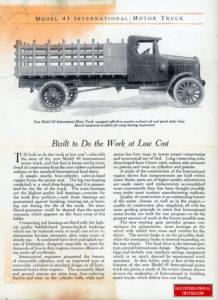 "INTERNATIONAL MODEL 43  <div class=""download-image""><a href=""https://oldinternationaltrucks.com/wp-content/uploads/2017/12/Internatioanl-motor-trucks-model-43-6.jpg"" download><i class=""fa fa-download""></i> <span class=""full-size""></span></a></div>"