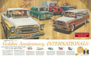 "1957 Golden Anniversary Internationals truck line up. <div class=""download-image""><a href=""https://oldinternationaltrucks.com/wp-content/uploads/2017/12/anniversay.jpg"" download><i class=""fa fa-download""></i> <span class=""full-size""></span></a></div>"