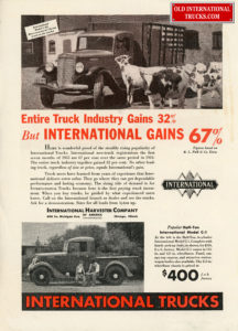 1935 INTERNATIONAL TRUCK SALE WERE UP 67 %