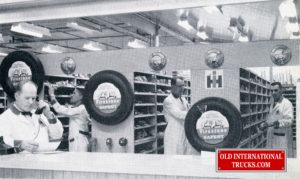 PARTS COUNTER AT THE INTERNATIONAL DEALERSHIP IN YORKTON SK. ABOUT 1965