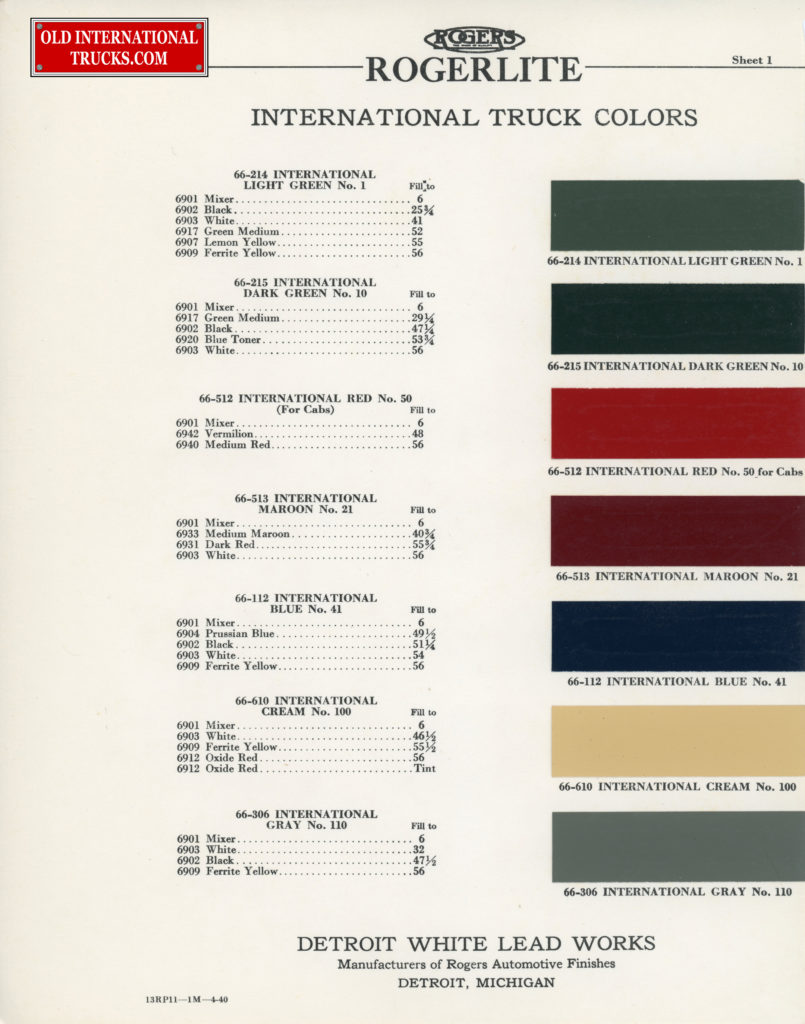 Colour Charts Old International Truck Parts 1952 Engine Diagram 1939 Color Chart