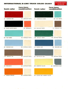 """1958 color and two tone matches  <div class=""""download-image""""><a href=""""https://oldinternationaltrucks.com/wp-content/uploads/2018/01/1958-Basic-Colors-B.jpg"""" download><i class=""""fa fa-download""""></i> <span class=""""full-size""""></span></a></div>"""