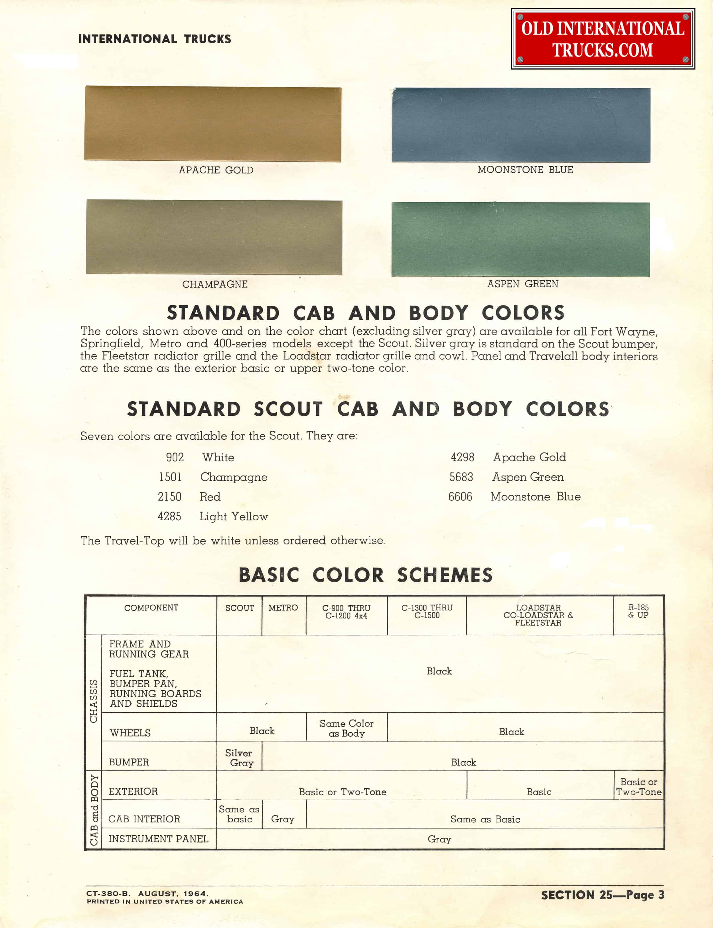 Colour charts old international truck parts 1965 standard color chart nvjuhfo Image collections