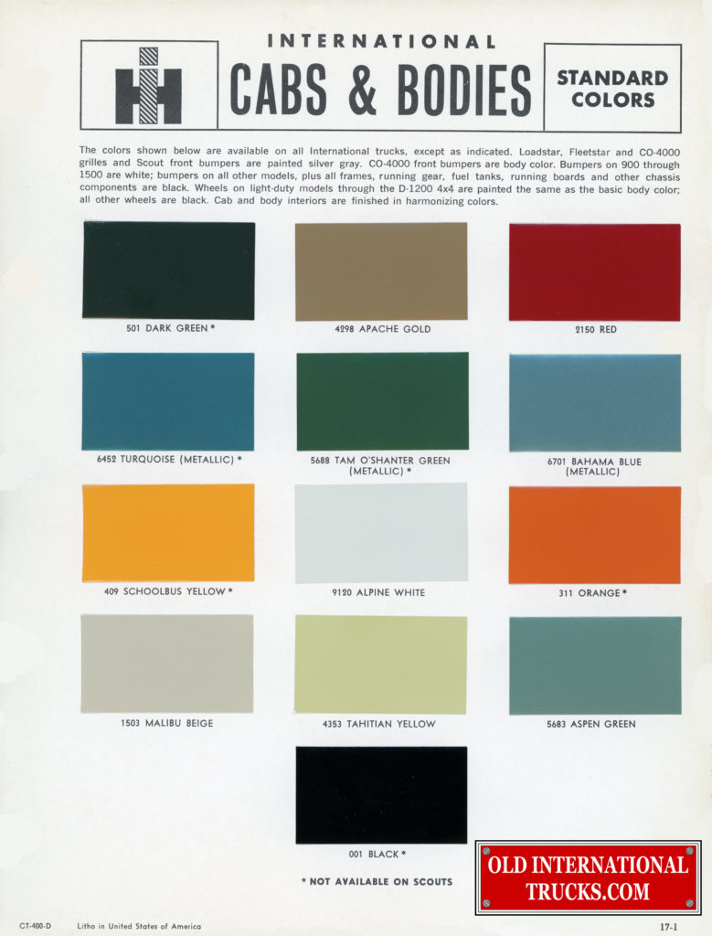 "1965 International Truck color chart <div class=""download-image""><a href=""https://oldinternationaltrucks.com/wp-content/uploads/2018/01/CT-400-D.jpg"" download><i class=""fa fa-download""></i> <span class=""full-size""></span></a></div>"