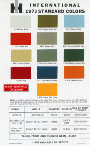 "1973 standard color chart <div class=""download-image""><a href=""https://oldinternationaltrucks.com/wp-content/uploads/2018/01/CT-402-K-1973.jpg"" download><i class=""fa fa-download""></i> <span class=""full-size""></span></a></div>"