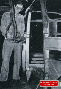 "1948 KB Panel being spot welded  <div class=""download-image""><a href=""https://oldinternationaltrucks.com/wp-content/uploads/2018/04/1948-KB-PANNNEL-SPOT-WELDS.jpg"" download><i class=""fa fa-download""></i> <span class=""full-size""></span></a></div>"