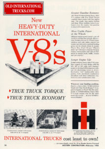 "ad for new heavy-duty V-8 engine, red lettering, cost least to own! is the tag line, <div class=""download-image""><a href=""https://oldinternationaltrucks.com/wp-content/uploads/2018/04/1958-401-549-V8.jpg"" download><i class=""fa fa-download""></i> <span class=""full-size""></span></a></div>"