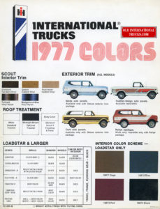 1977 Scout color chart
