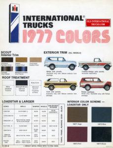 1977 Scout color chart