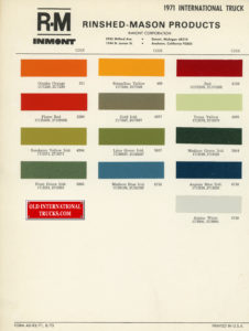 "1971 color chart <div class=""download-image""><a href=""https://oldinternationaltrucks.com/wp-content/uploads/2018/07/1971-color-chart.jpg"" download><i class=""fa fa-download""></i> <span class=""full-size""></span></a></div>"