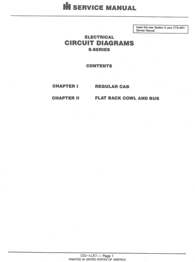 Electrical Circuit Diagram  U0026quot S U0026quot  Line Truck 1984